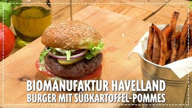 Biomanufaktur Havelland Burger mit Süßkartoffel-Wedges